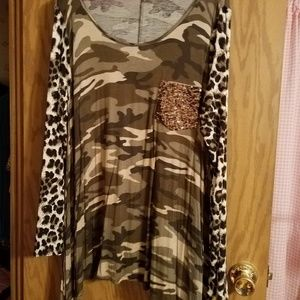 camo and animal print tunic top 1XL